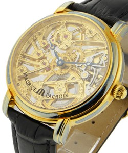 b72f741fe8 Masterpiece Squelette in Yellow Gold on Black Crocodile Leather Strap with  Skeleton Dial