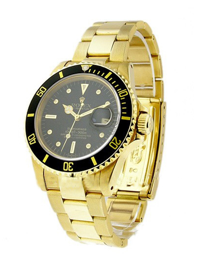 Rolex Used Submariner Yellow Gold Ref 16808