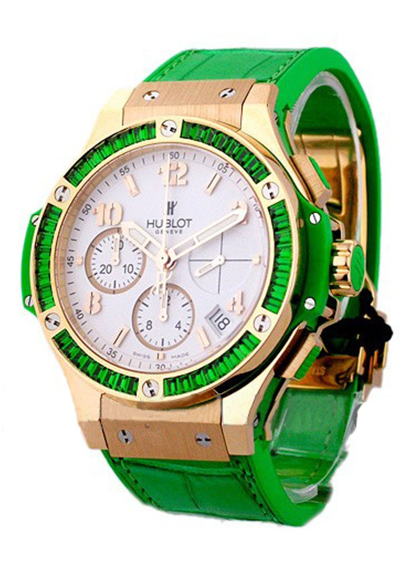 Hublot Big Bang Tutti Frutti Apple 41mm in Rose Gold with Green Baguette Daimond Bezel