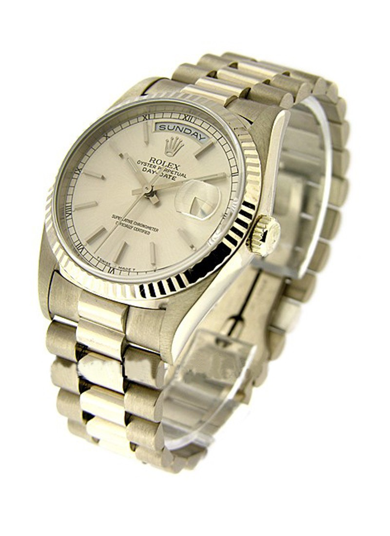 Rolex Used Day Date President 36mm Automatic in White Gold with Fluted Bezel
