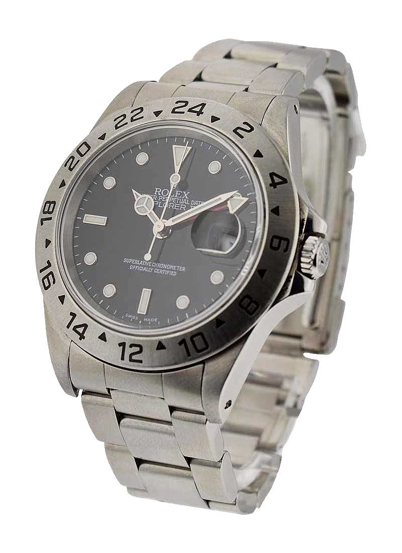 Pre-Owned Rolex Explorer II 40mm in Steel with Engrave Bezel