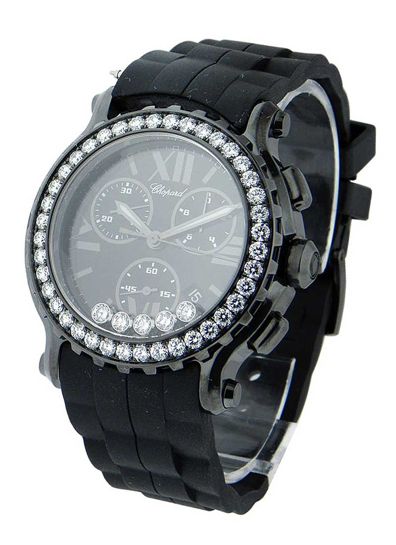 Chopard Happy Sport in Black Ceramic, Steel and White Gold with Diamond Bezel