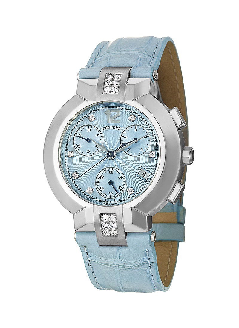 Concord La Scala Round Chronograph in Steel and Diamond