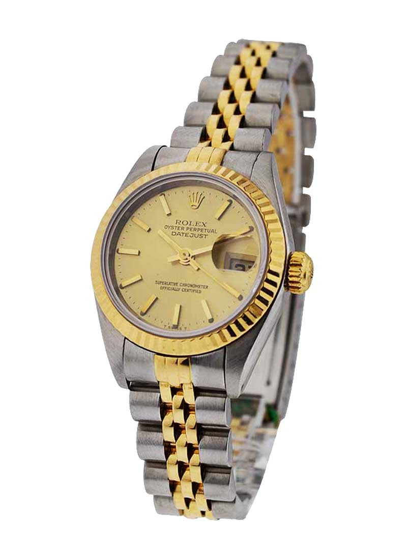 Rolex Used Datejust Lady's 26mm in Steel and Yellow Gold Fluted Bezel