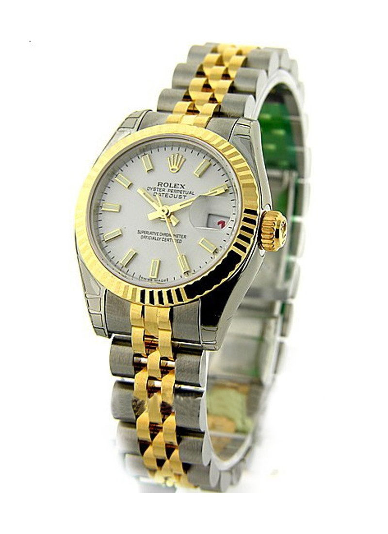 Rolex Unworn Ladies Datejust 26mm in Steel with Yellow Gold Fluted Bezel