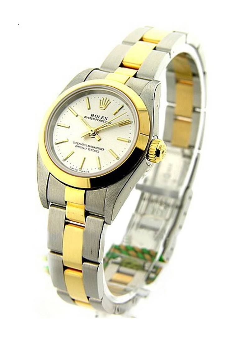 Rolex Used Ladies 2 Tone No Date in Steel and Yellow Gold with Smooth Bezel