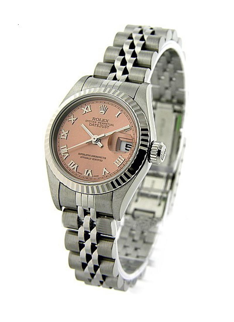 Rolex Used Lady's 26mm Datejust in Steel with White Gold Fluted Bezel