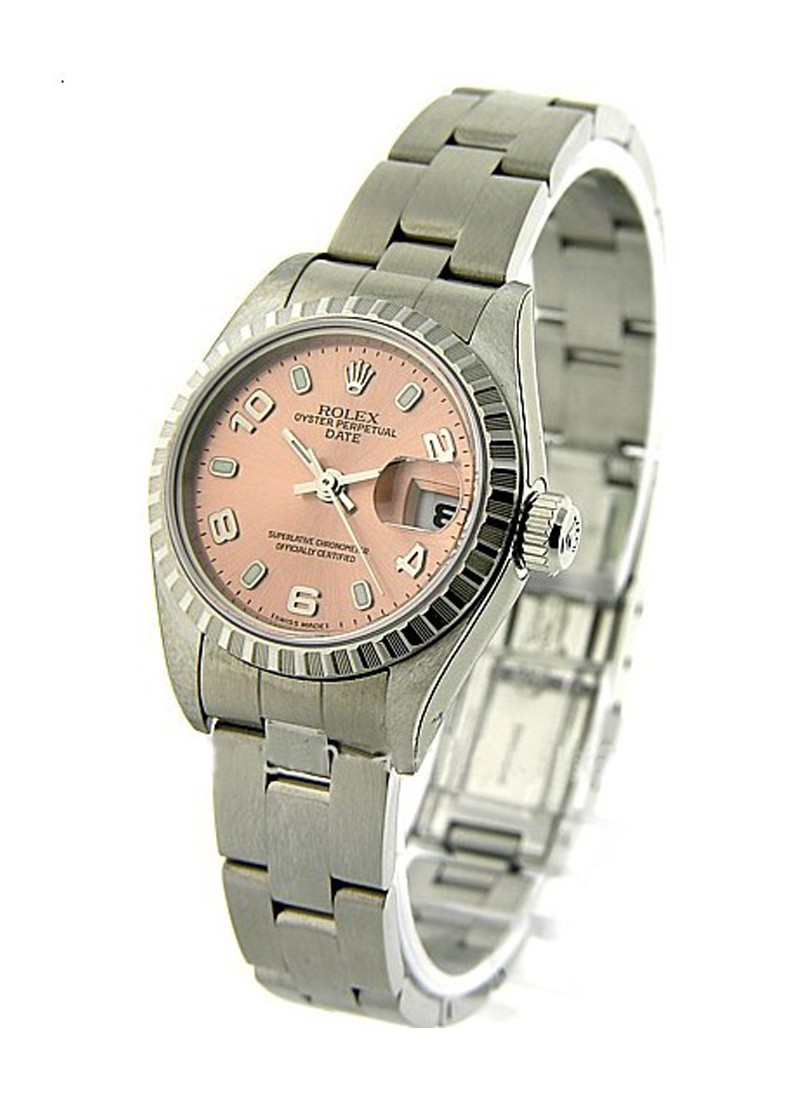 Rolex Used Lady's Date in Steel with Engine Bezel