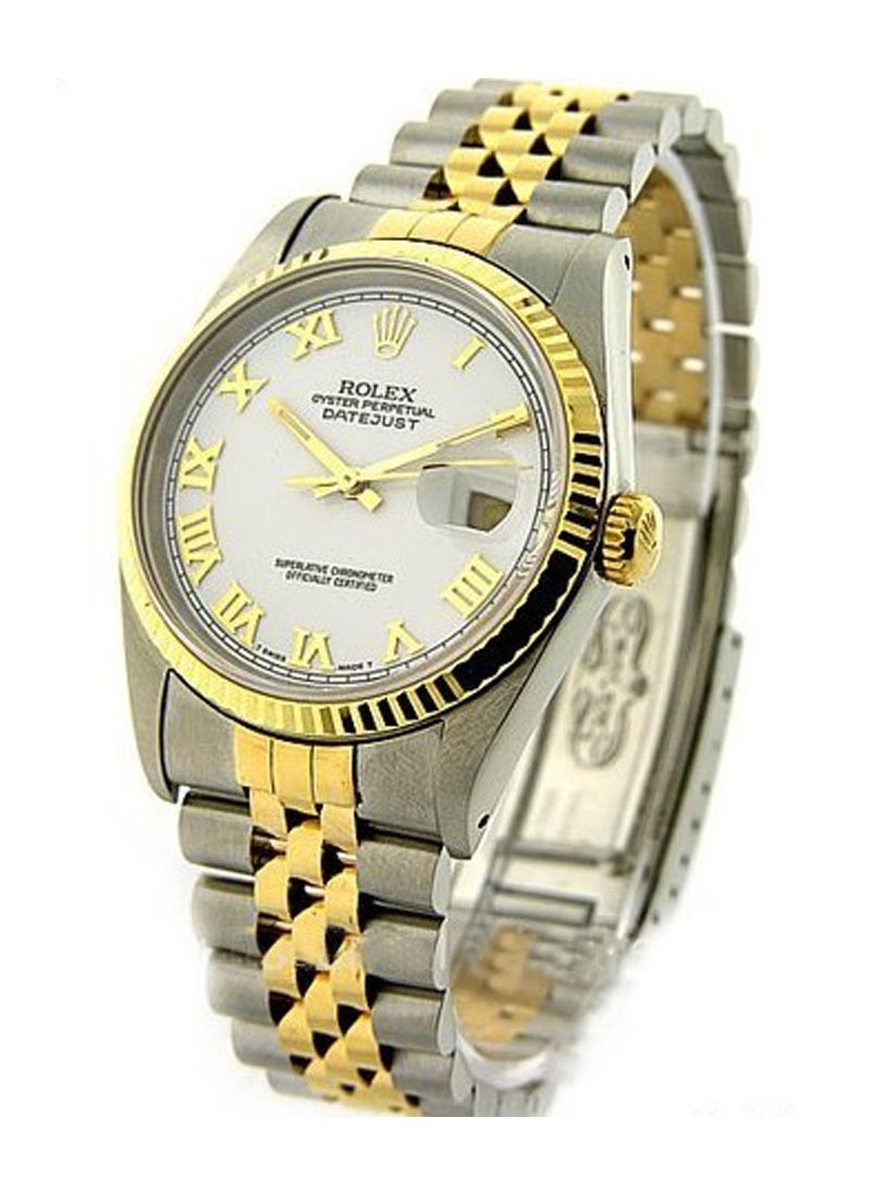 Rolex Used Datejust 36mm in Steel with Yellow Gold Fluted Bezel  Early 90's