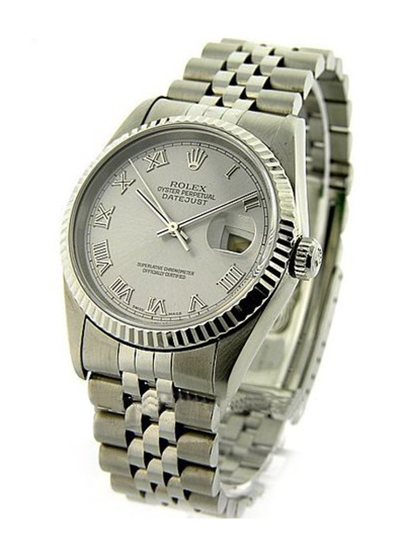 Rolex Used Datejust in Steel with White Gold Fluted Bezel