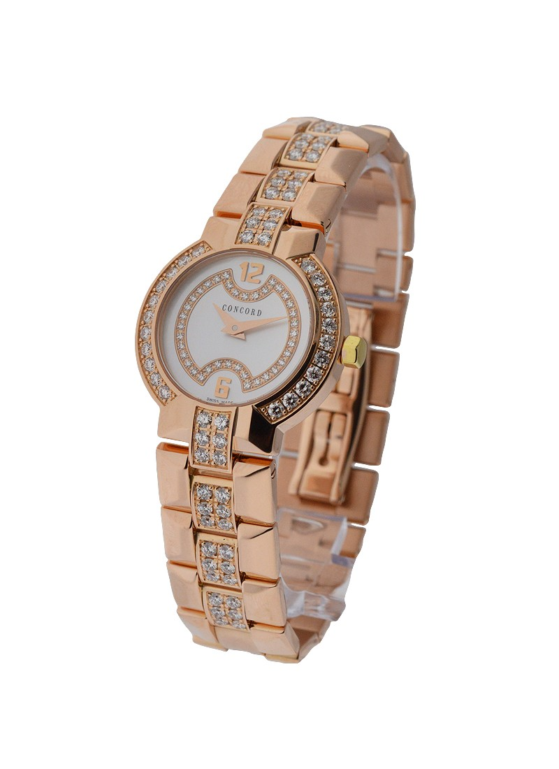 Concord La Scala Round Rose Gold with Diamond Bezel