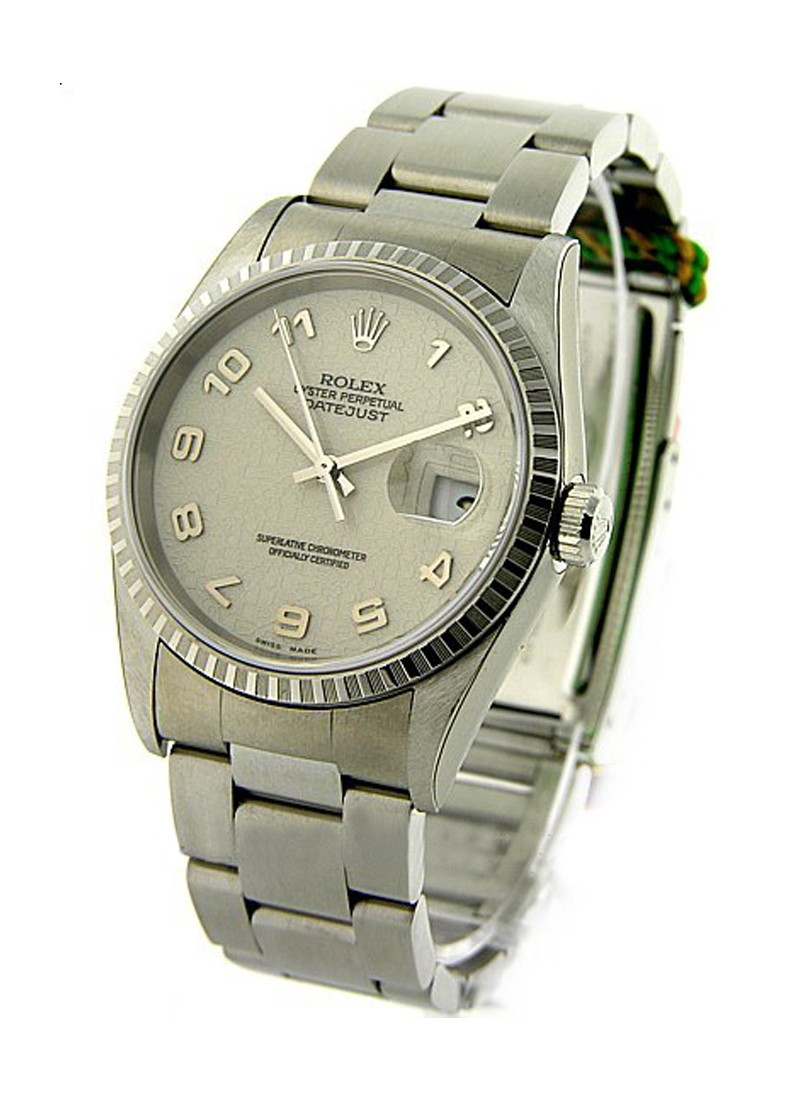Pre-Owned Rolex Datejust 36mm in Steel with Engine-Turned Bezel