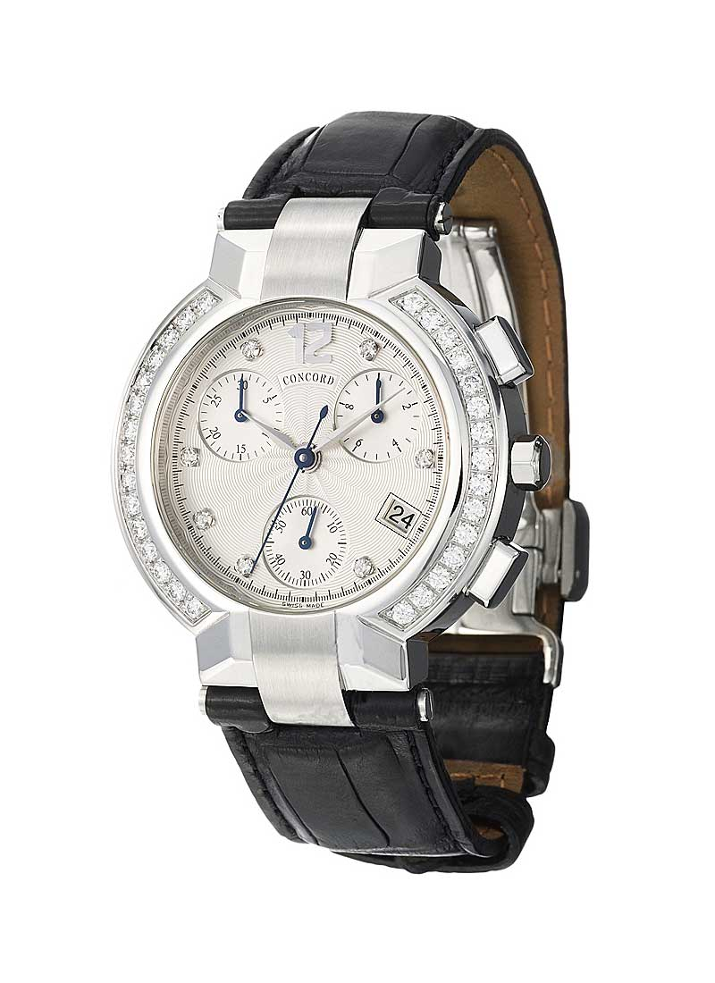 Concord La Scala Round Chronograph in Steel with Diamond Bezel