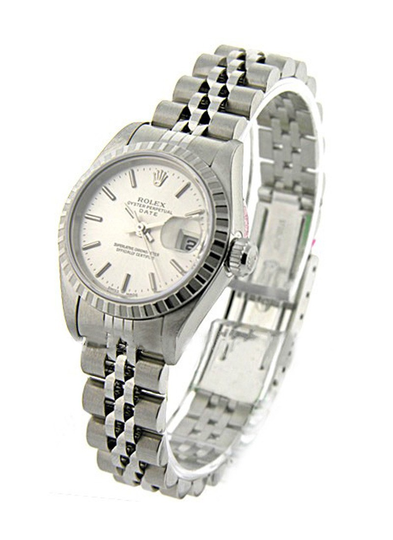 Rolex Used Ladies Date in Steel with Engine Bezel