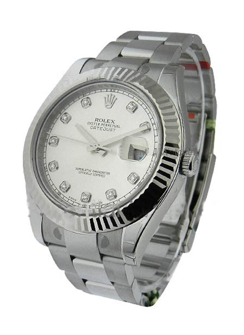 Rolex Unworn Datejust II 41mm in Steel with White Gold Fluted Bezel