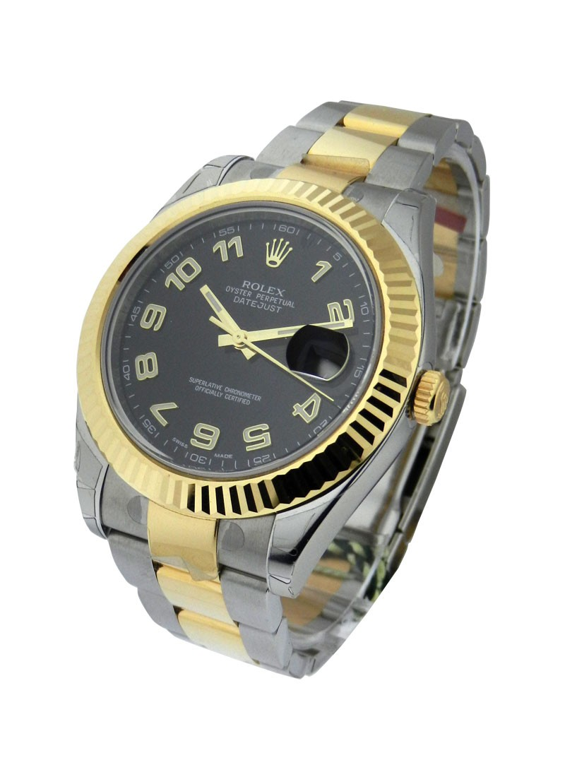 Rolex Unworn Datejust DJ II in Steel with Yellow Gold Fluted Bezel