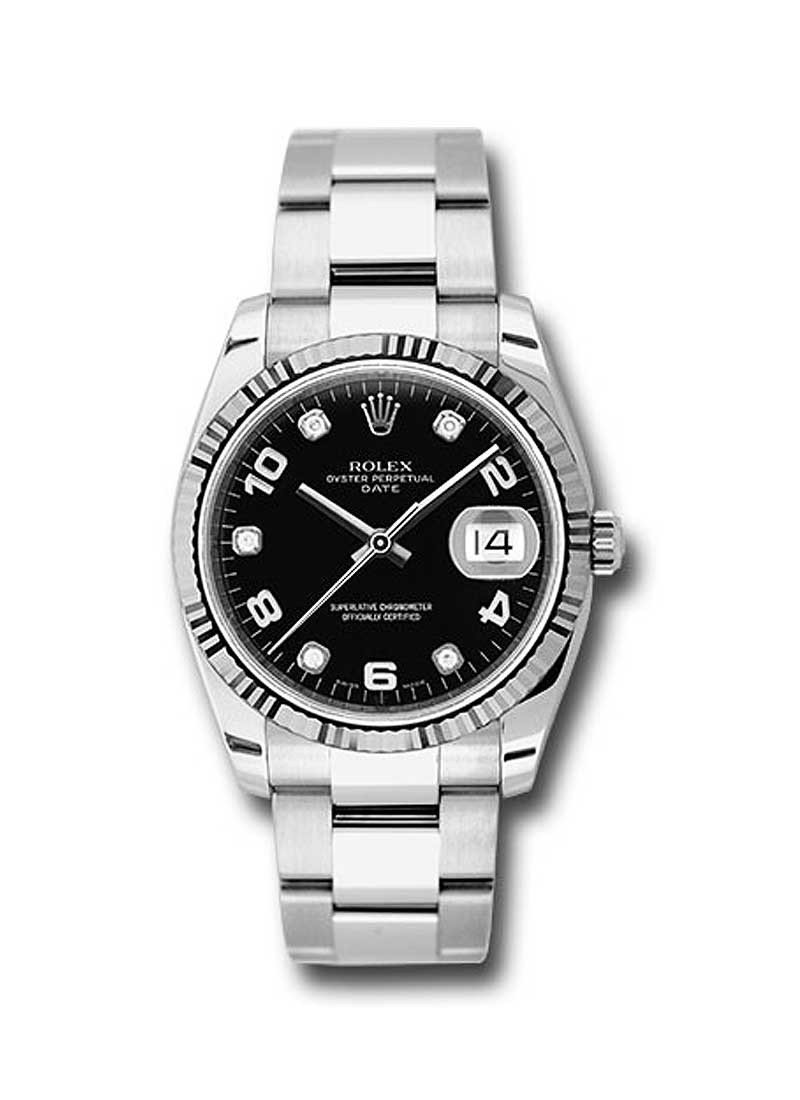 Rolex Unworn Date 34mm Automatic in Steel with White Gold Fluted Bezel