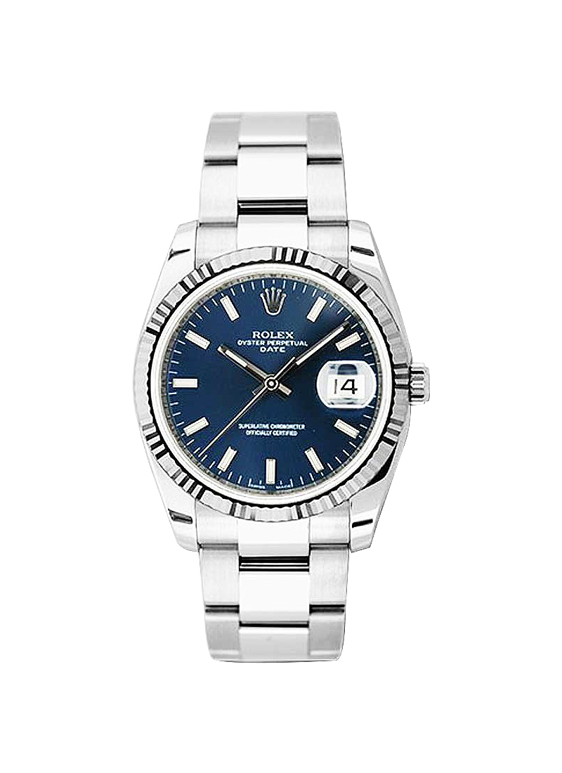 Rolex Unworn 34mm Date in Steel with White Gold Fluted Bezel
