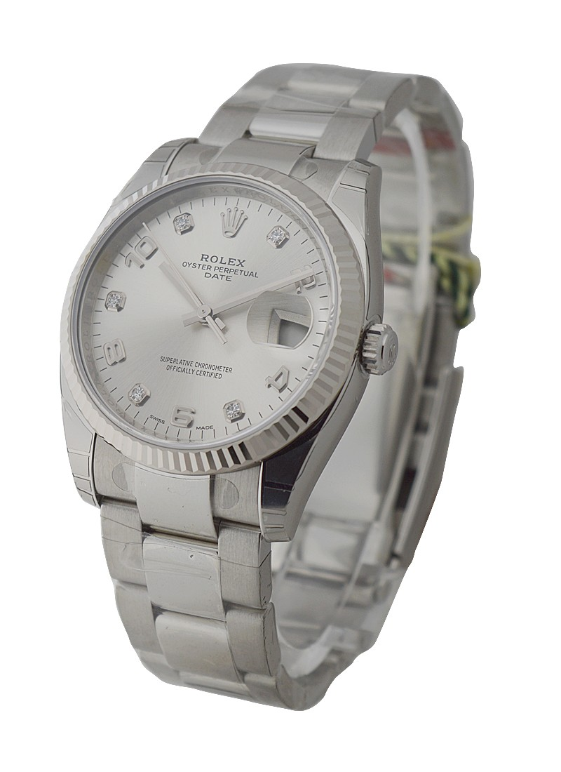 Rolex Unworn Date 34mm  with  Fluted Bezel and Oyster Bracelet