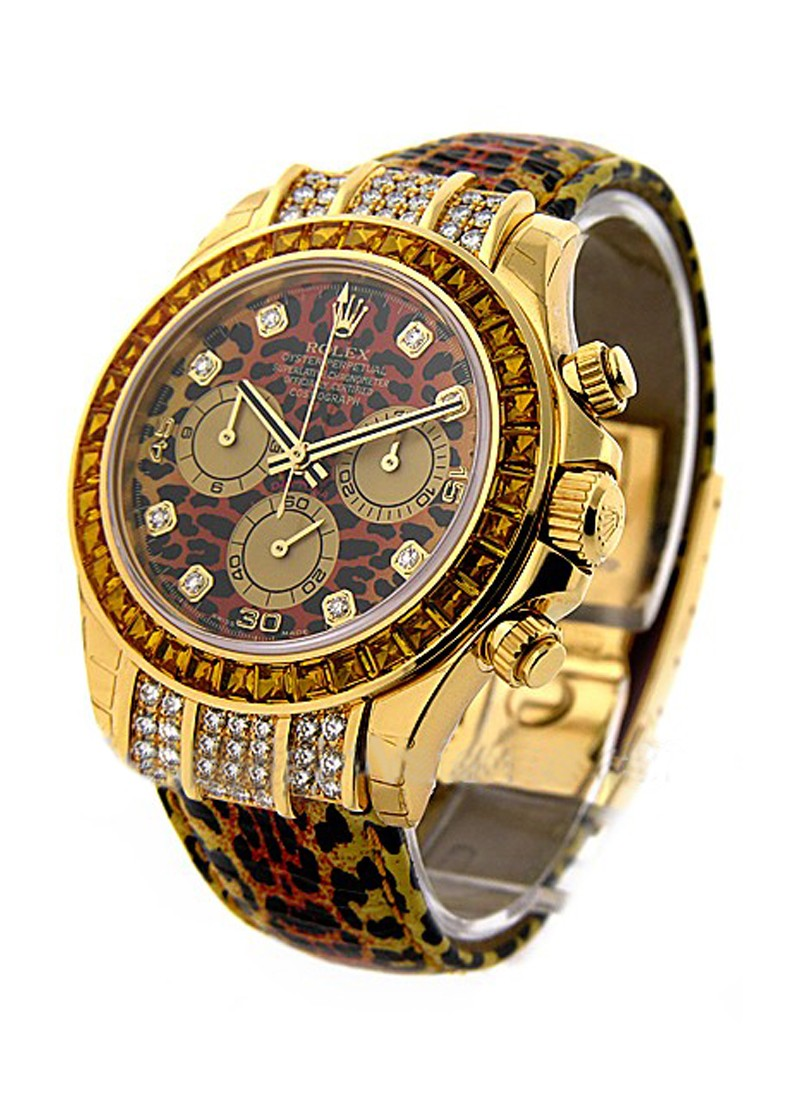 Rolex Unworn Leopard Daytona 116598  with Diamond Case