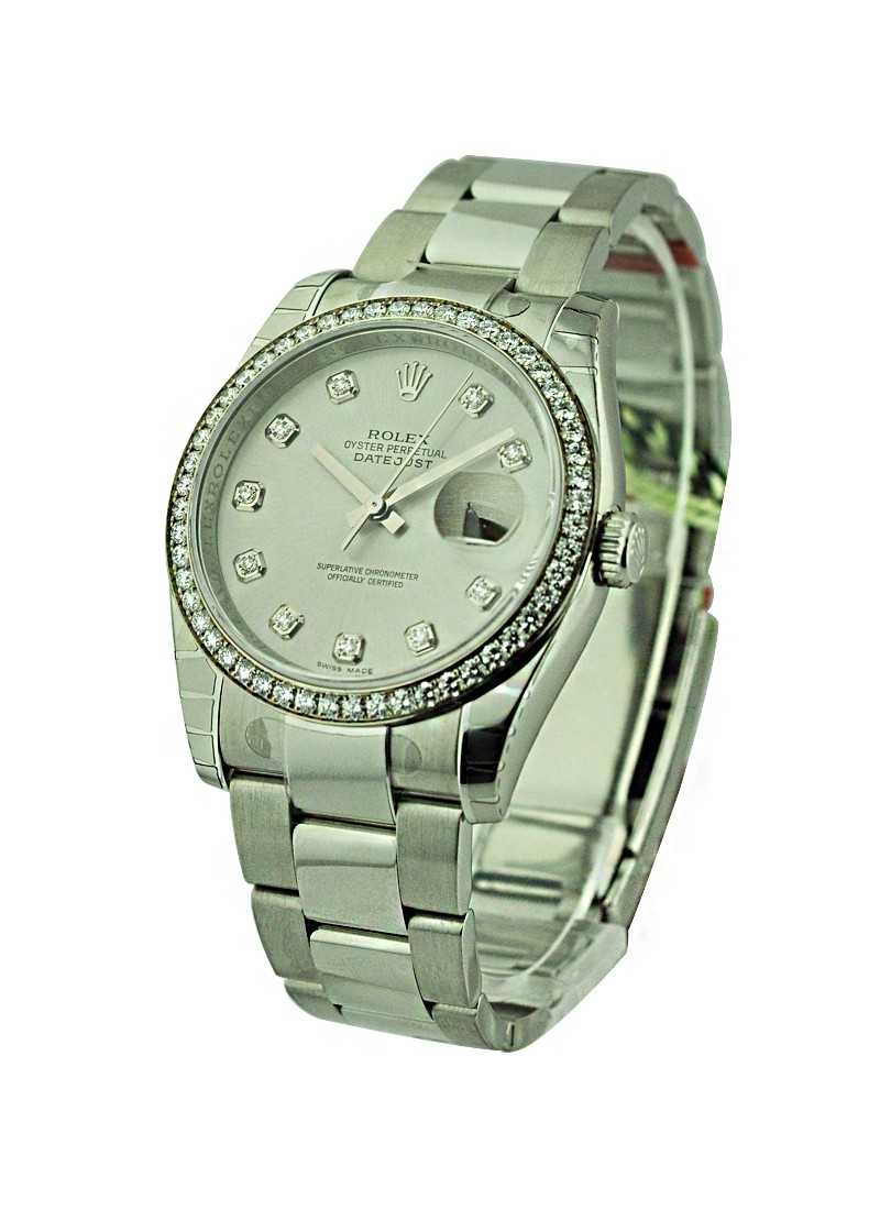 Rolex Unworn 36mm Steel Datejust with Diamond Bezel