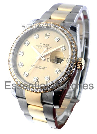 Rolex Unworn Datejust 36 mm 2 Tone with Diamond Bezel