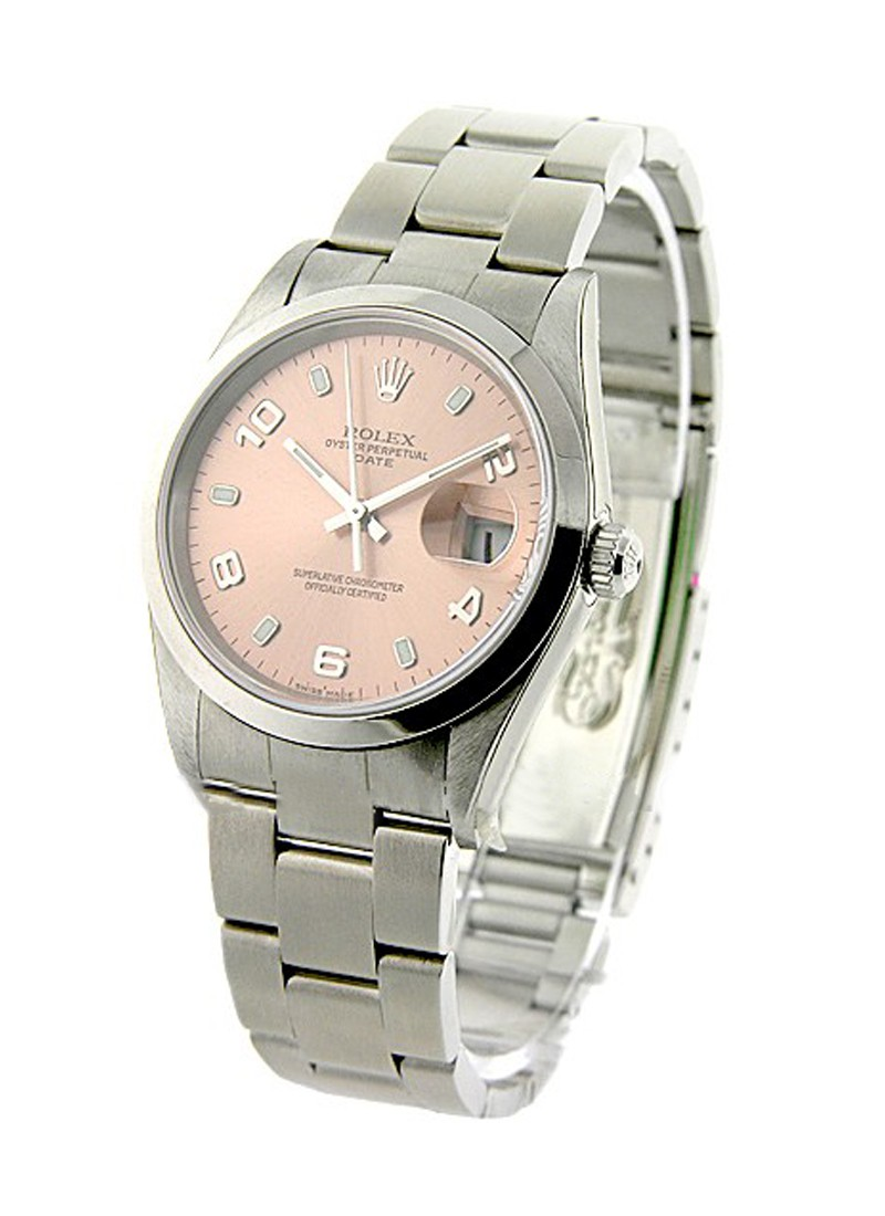 Pre-Owned Rolex Date 34mm in Steel with Smooth Bezel