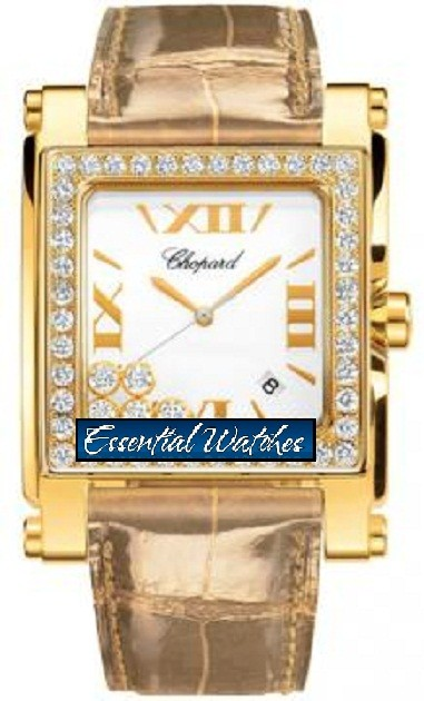 Chopard Happy Sport II Square XL in Yellow Gold with Diamonds Bezel