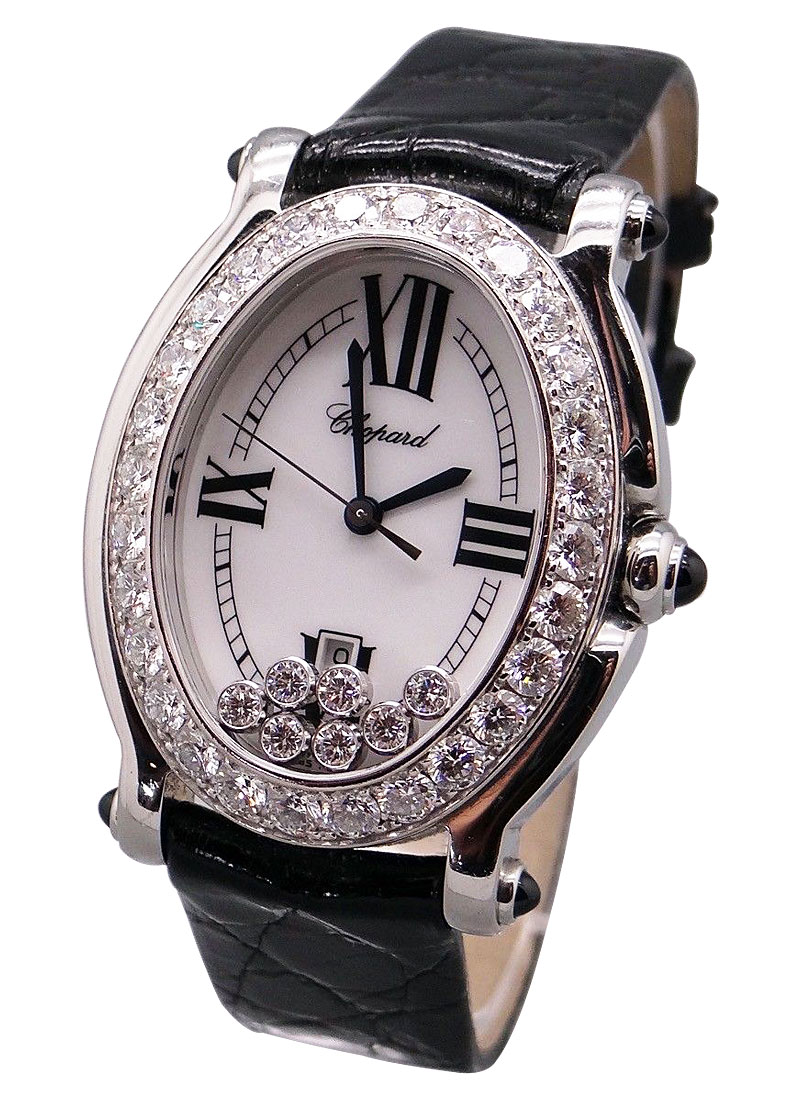 Chopard Happy Sport Oval in Steel with Diamonds Bezel