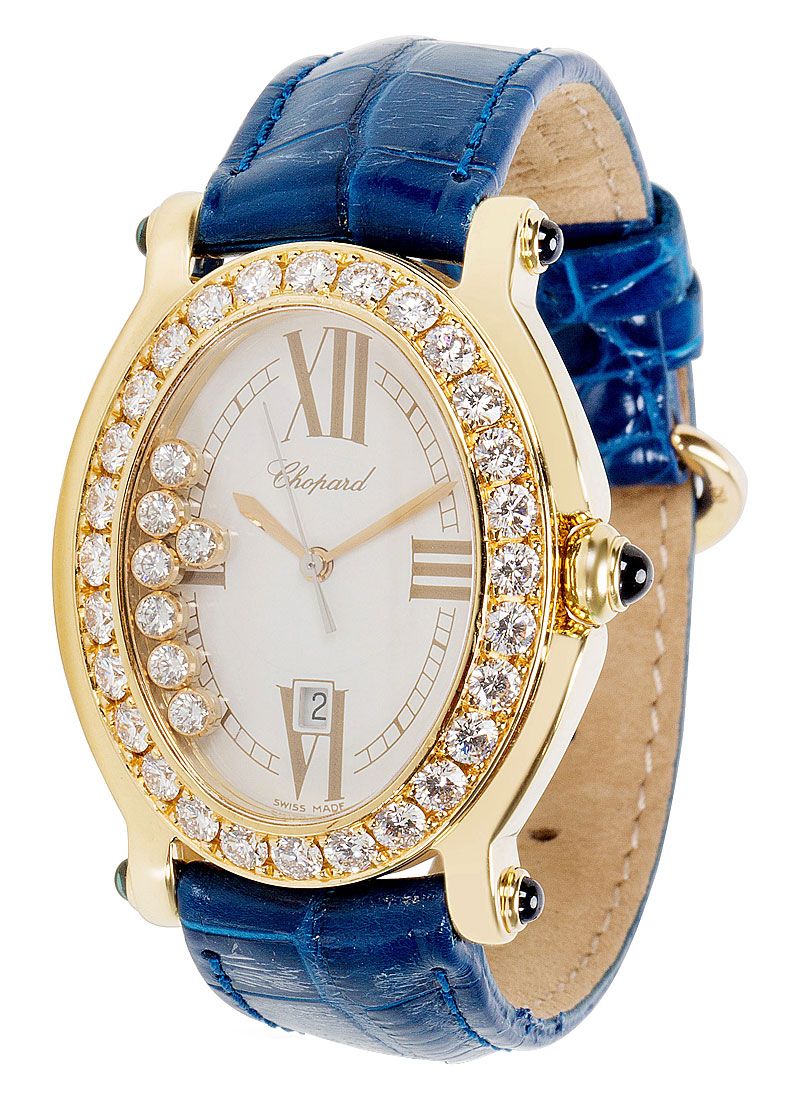 Chopard Happy Sport Oval in Yellow Gold with Diamonds Bezel