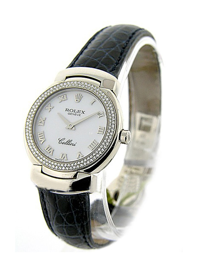 Rolex Unworn Cellini Cellisima in White Gold with 2 Row Diamond Bezel (152 Diamond Case)
