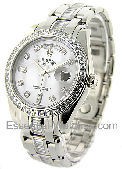 Rolex Unworn Masterpiece Men's in Platinum with Baguette Diamond Bezel