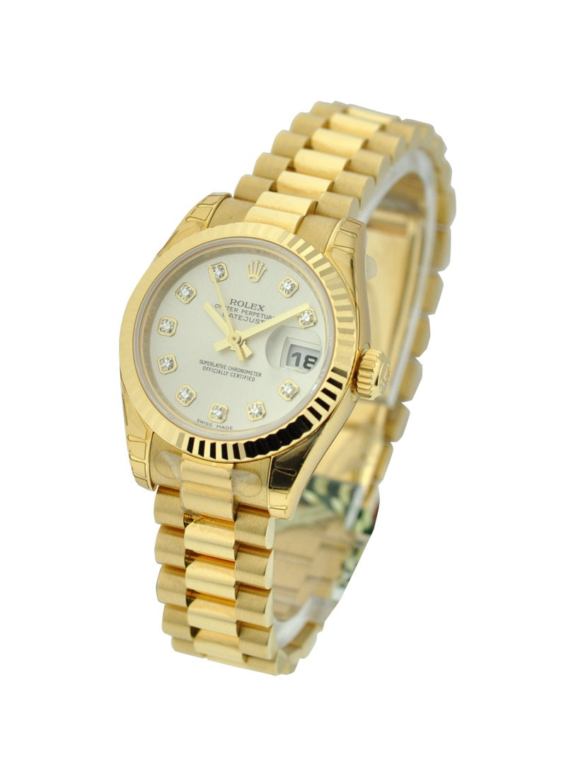 Rolex Unworn President Ladies 26mm in Yellow Gold with Fluted Bezel