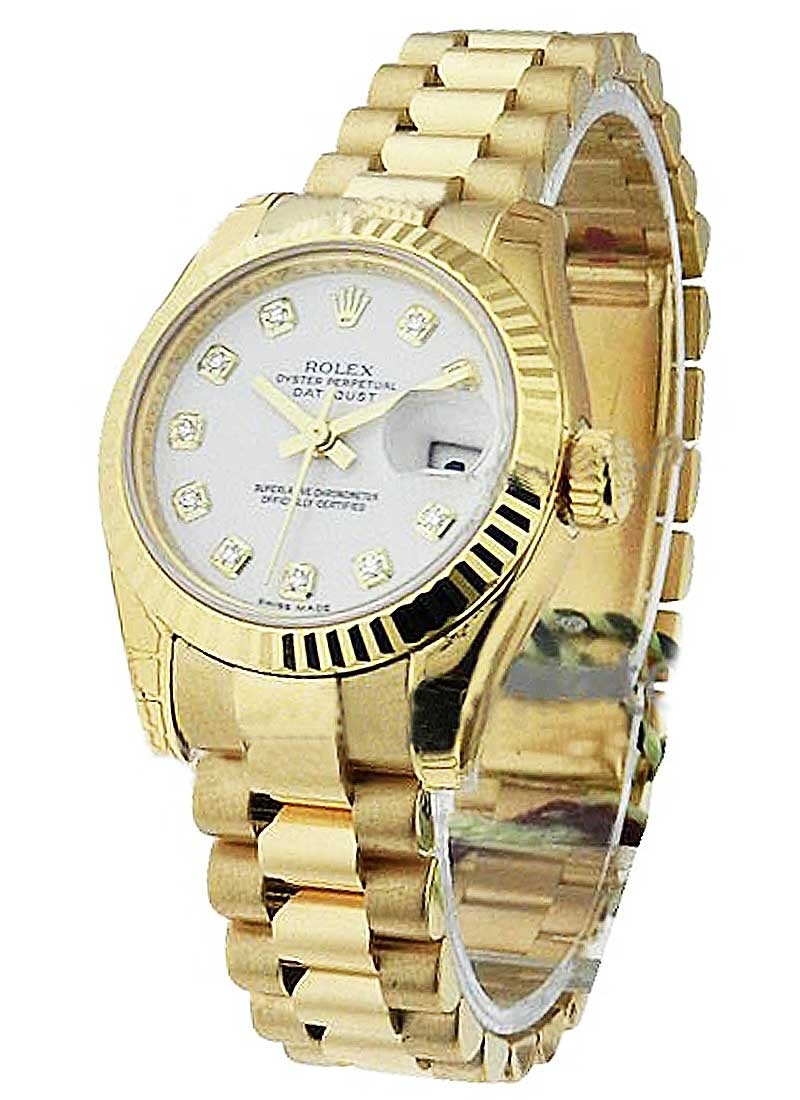 Rolex Unworn President Lady in Yellow Gold with Fluted Bezel