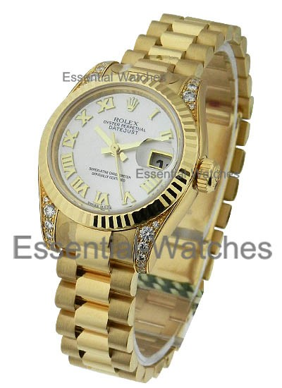 Rolex Unworn Layds Yellow Gold President with Diamond Lugs