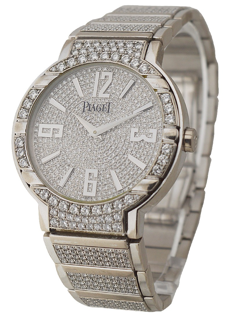 Piaget Polo Large Size White Gold - Full Pave