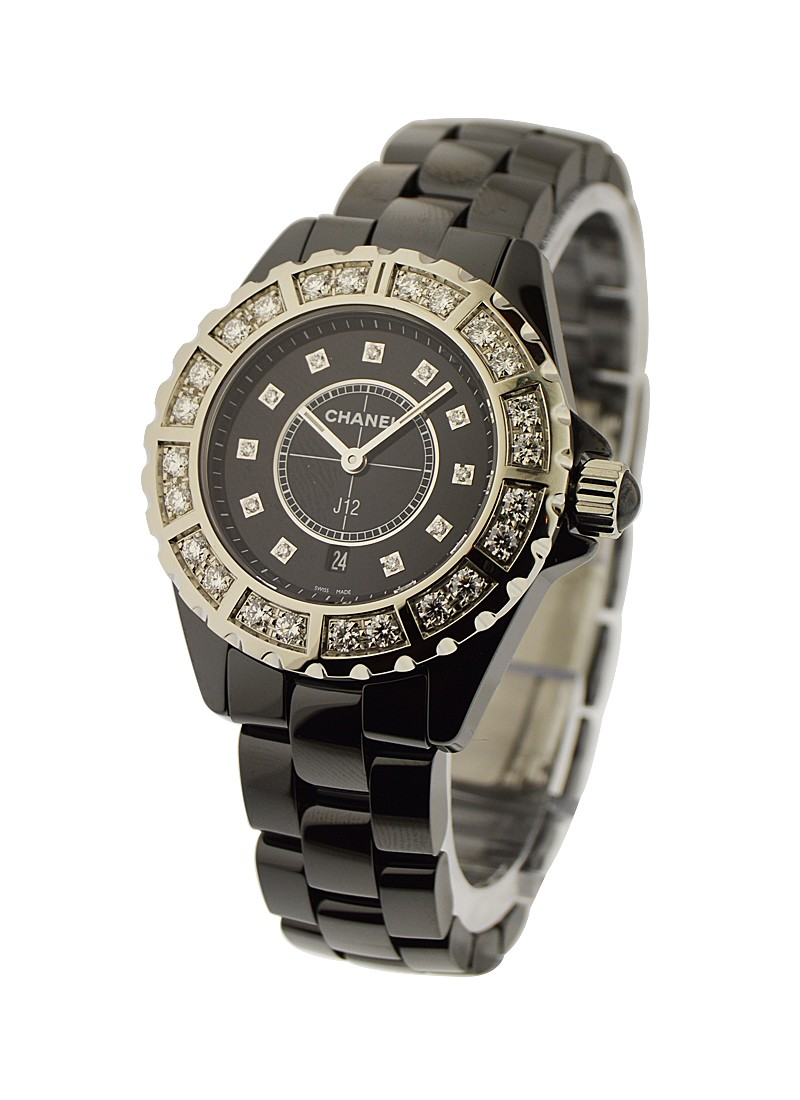 Chanel J12 Black Ceramic 33mm with Black Diamond Bezel