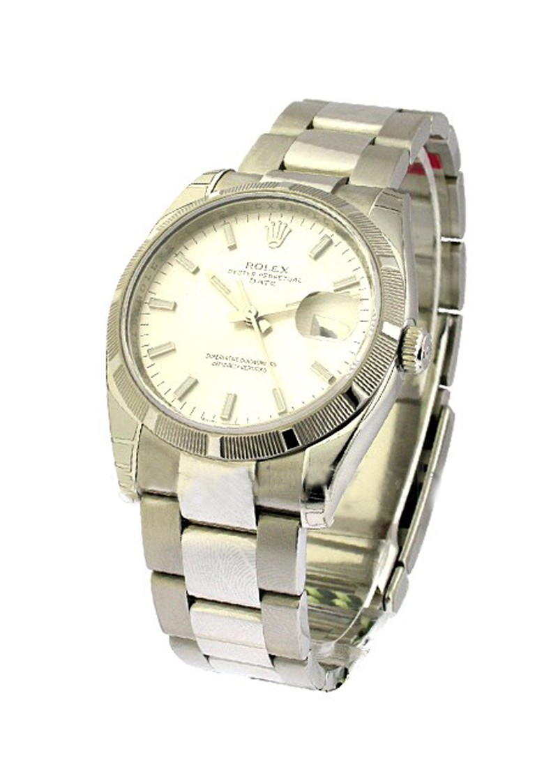 Rolex Unworn Men's Steel Date with Engine Turned Bezel