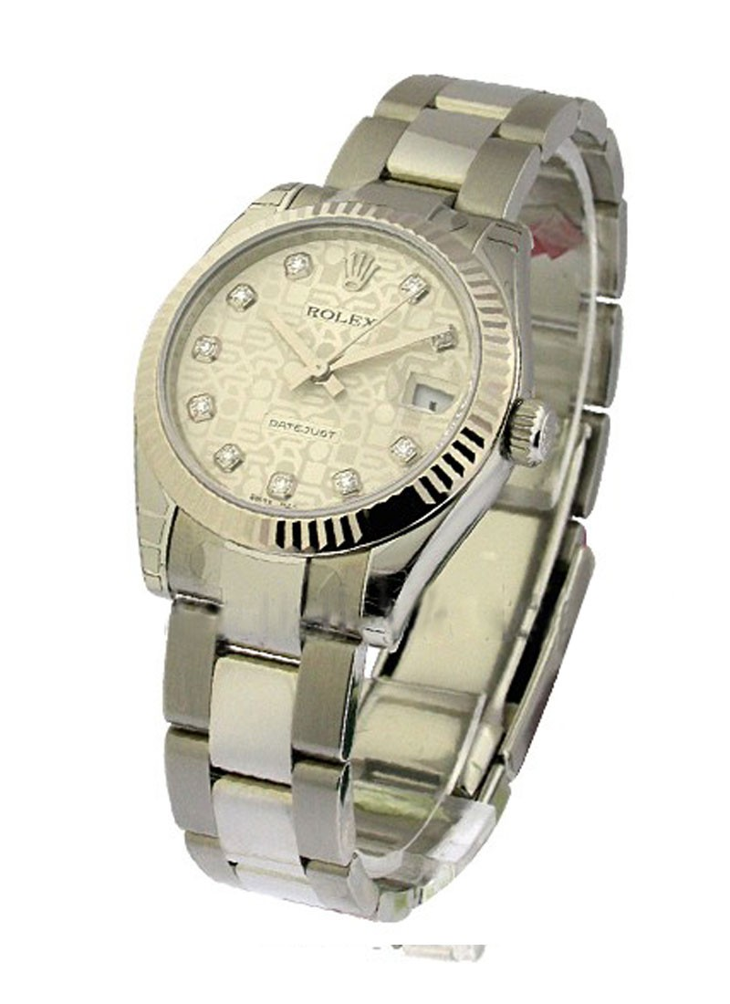 Rolex Unworn Mid Size Datejust 31mm in Steel with White Gold Fluted Bezel