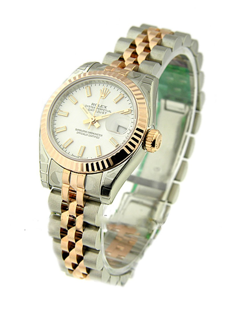 Rolex Unworn Datejust 26mm Ladies in Steel with Rose Gold Fluted Bezel