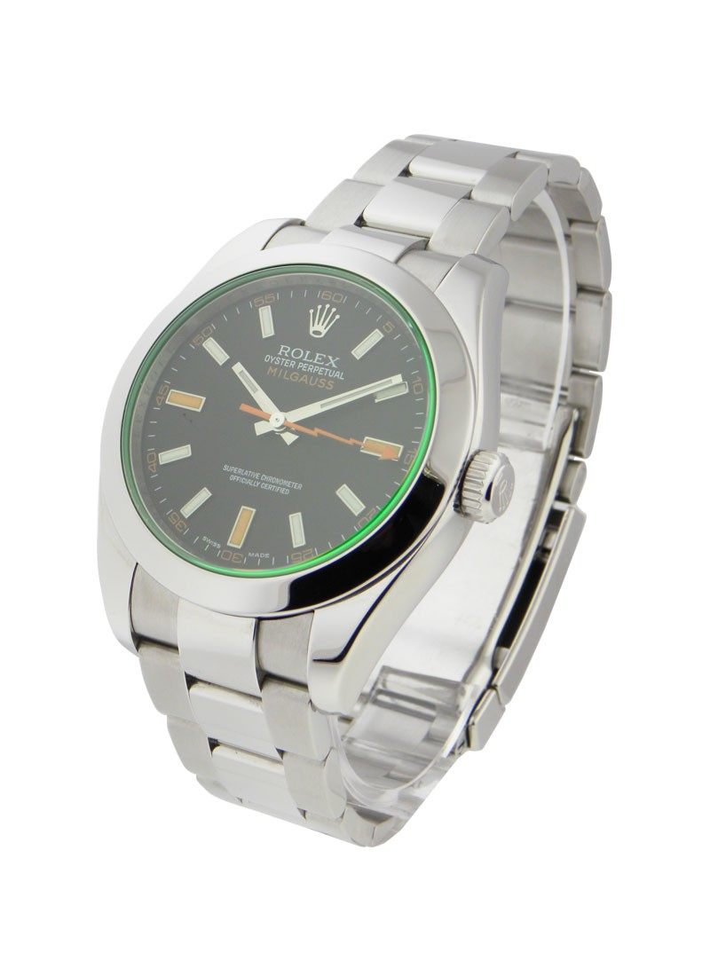 Pre-Owned Rolex Milgauss Black Dial Green Crystal