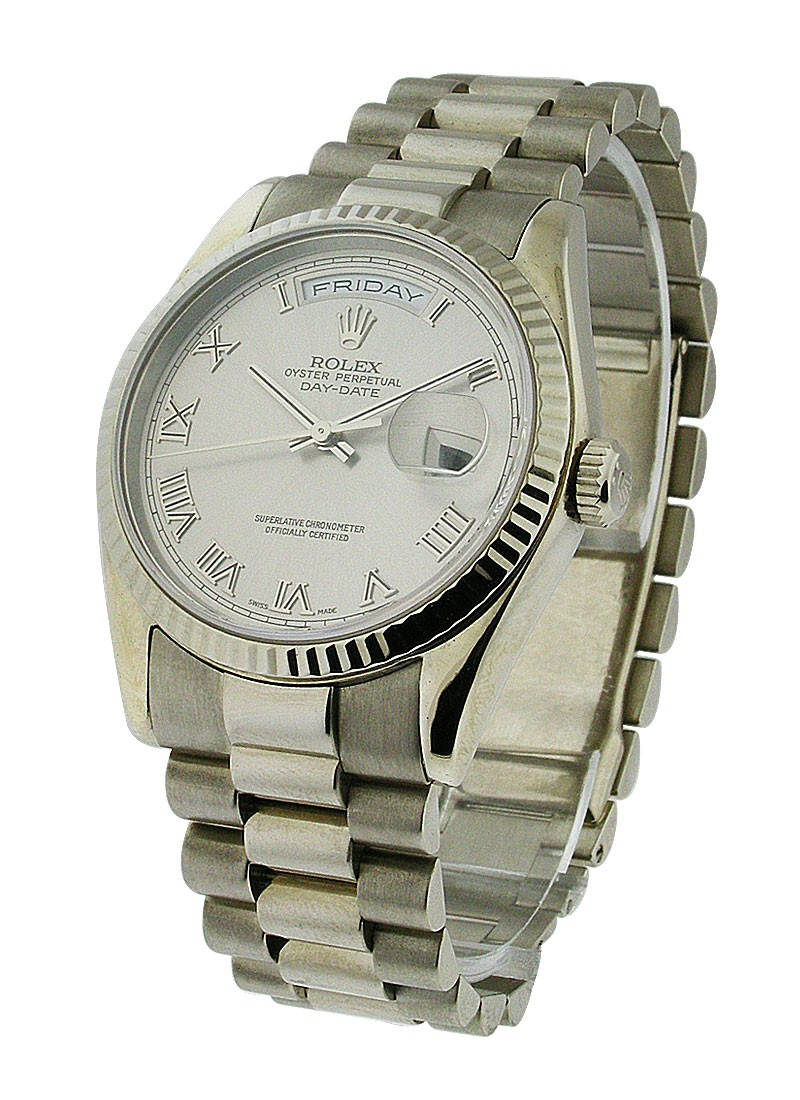 Rolex Unworn Men's President Day -Date in White Gold with Fluted Bezel