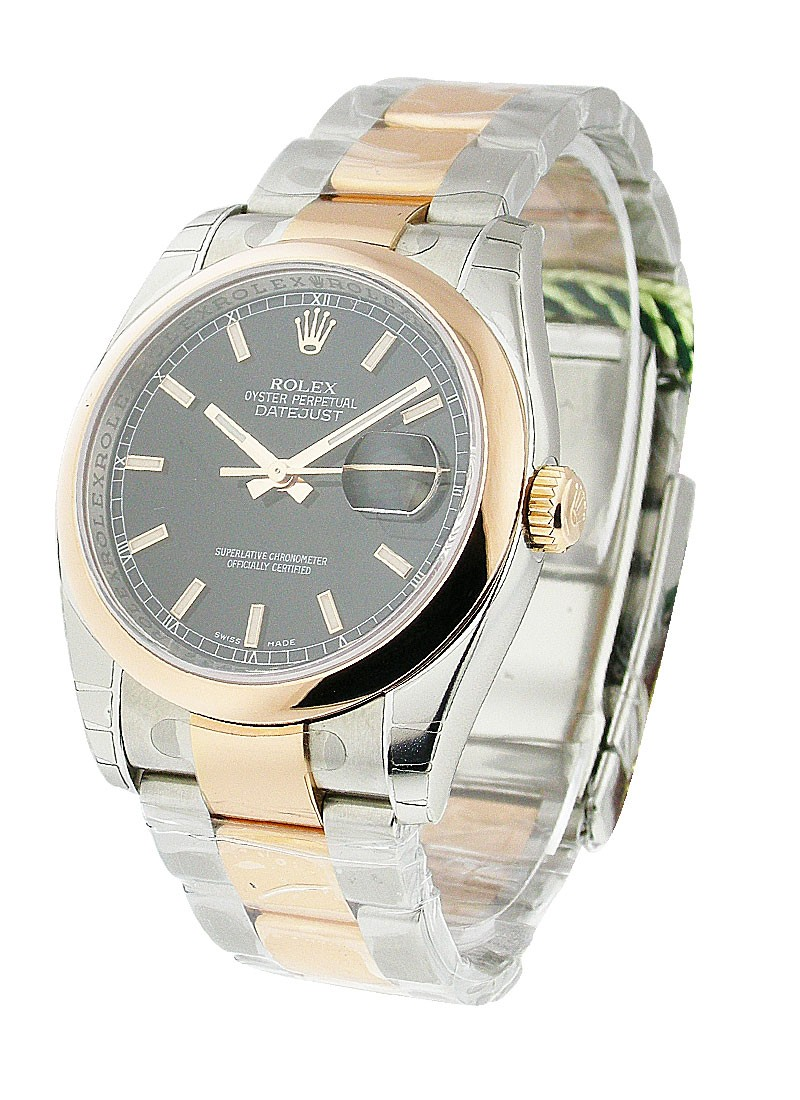 Rolex Unworn Datejust 36m in Steel with Rose Gold Domed Bezel