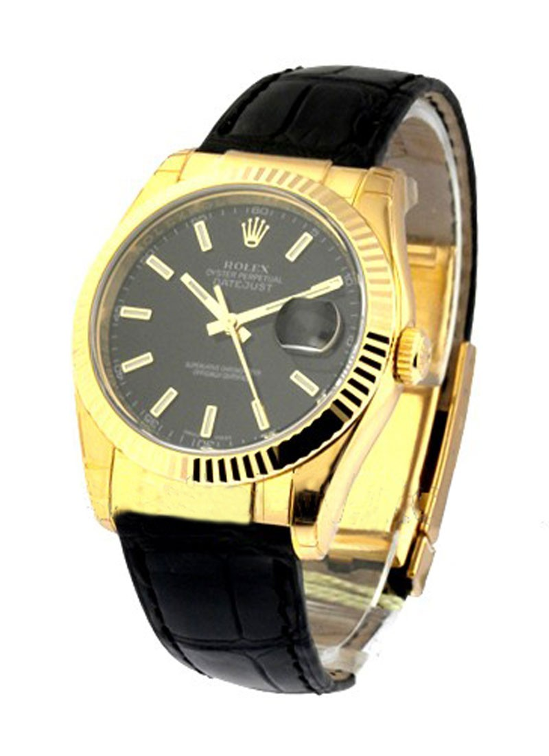 Rolex Unworn Datejust in Yellow Gold with Fluted Bezel
