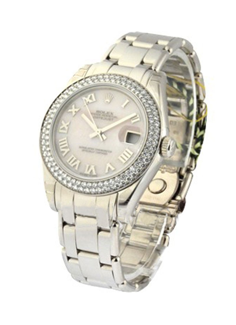 Rolex Unworn Masterpiece Mid Size in White Gold with 2 Row Diamond Bezel