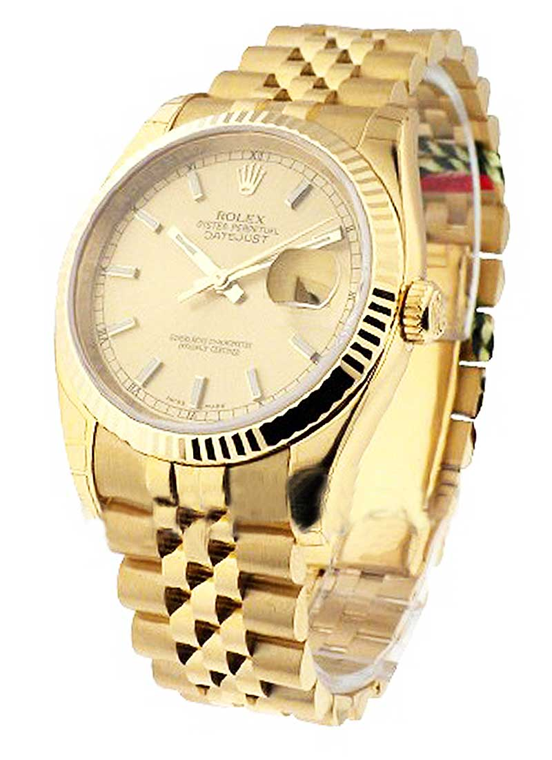 Rolex Unworn Datejust 36mm in Yellow Gold with Fluted Bezel