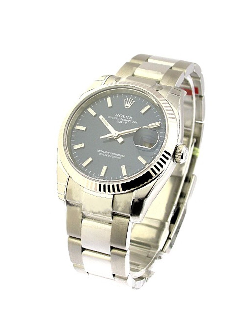 Rolex Unworn Date 34mm in Steel with Fluted Bezel