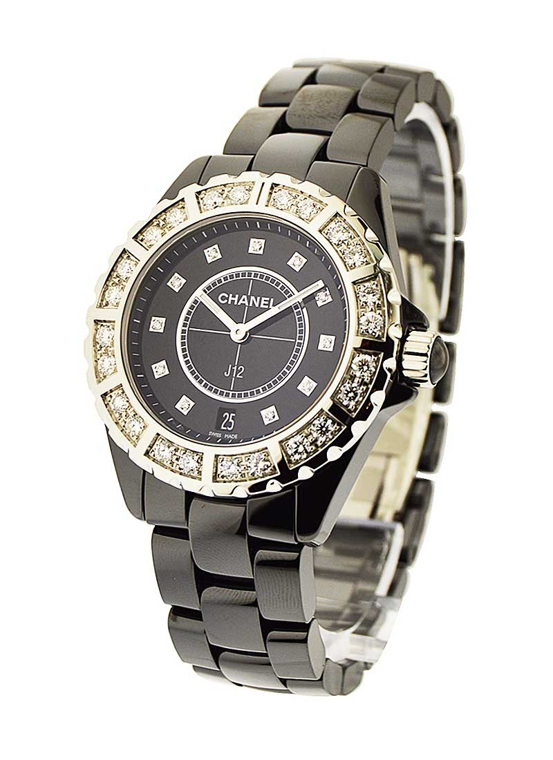 Chanel J12 38mm Automatic in Black Ceramic & Stainless Steel with 2 Row Diamond Bezel