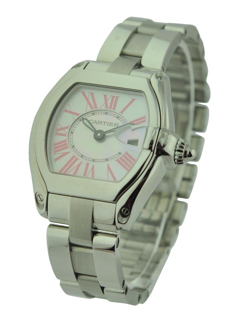 Cartier Ladys Roadster with White MOP Dial and Pink Romans