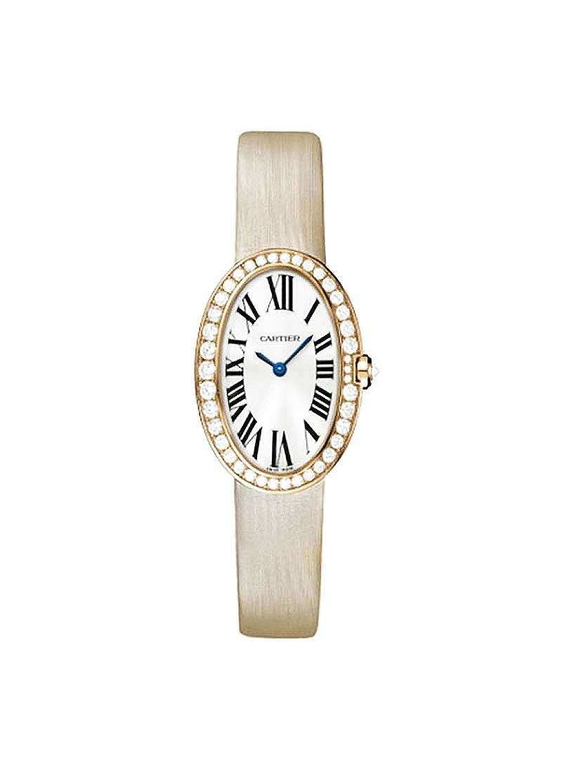 Cartier Baignoire Rose Gold with Diamond Bezel